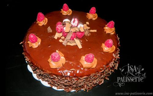 génoise chocolat, mousse chocolat framboise valence espagne