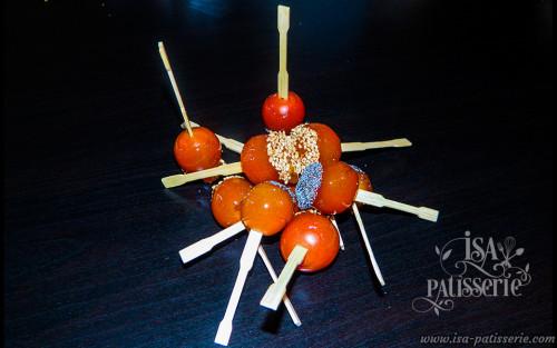 sucette tomate cerise caramélisée pavot ou sésame valence espagne